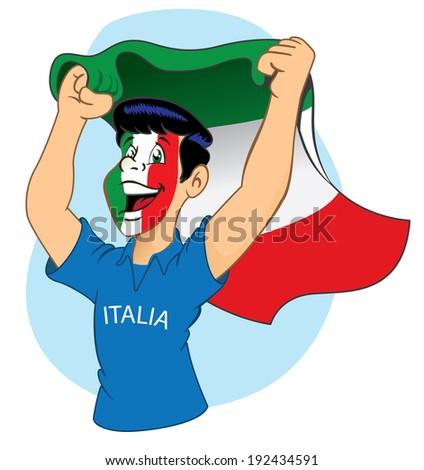Italian supporter cheering - stock vector