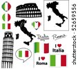Italian symbols and icons. Vector collection. - stock photo