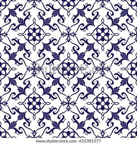 Italian Tile Pattern Vector Blue White Stock Vector