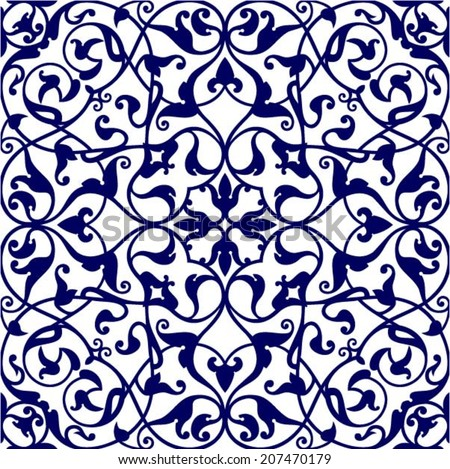 Italian traditional ornament, Mediterranean seamless pattern, tile design, vector illustration - stock vector