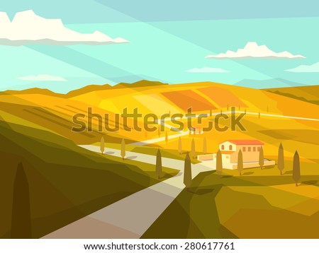 Italian Tuscany landscape. Vector illustration. - stock vector