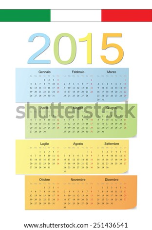 Italian 2015 vector color calendar. Week starts from Monday. - stock vector
