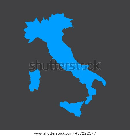 Italy blue map,border on black background. Vector illustration.