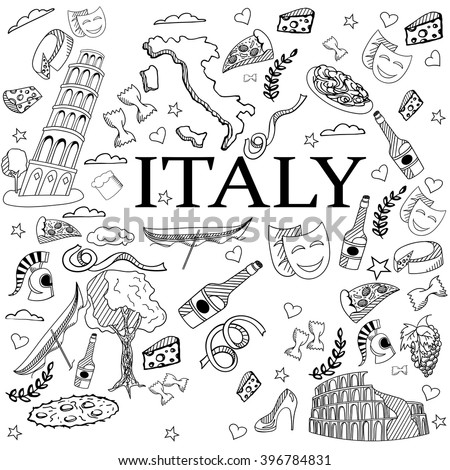 Italy Coloring Book Line Art Design Vector Illustration Separate Objects Hand Drawn Doodle