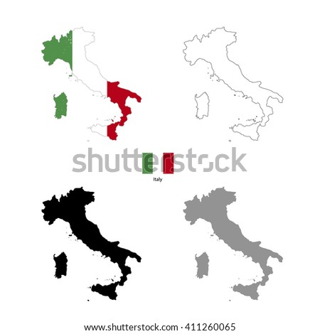 Italy country black silhouette and with flag on background, isolated on white - stock vector