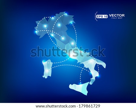 Italy country map polygonal with spot lights places - stock vector