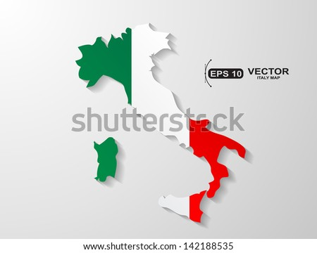 Italy country map with shadow effect - stock vector