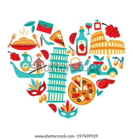 Italy decorative elements icons set in heart shape vector illustration - stock vector