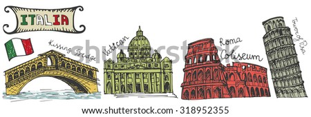 Italy famous landmark set.Vintage Hand drawn doodle art sketchy.Coliseum,Vatican,bridges of Venice,tower of Pisa.Travel background.Isolated horizontal Vector  - stock vector