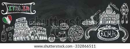 Italy famous Rome landmark,lettering,food set.Vintage Hand drawn doodle art sketchy.Italian Rome,travel,hello.Coliseum,Vatican,icon symbols.Isolated colored Vertical Vector background.Chalkboard - stock vector