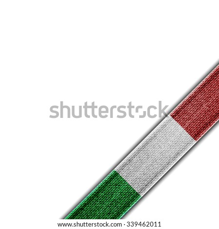 Italy flag Denim ribbon corner - stock vector