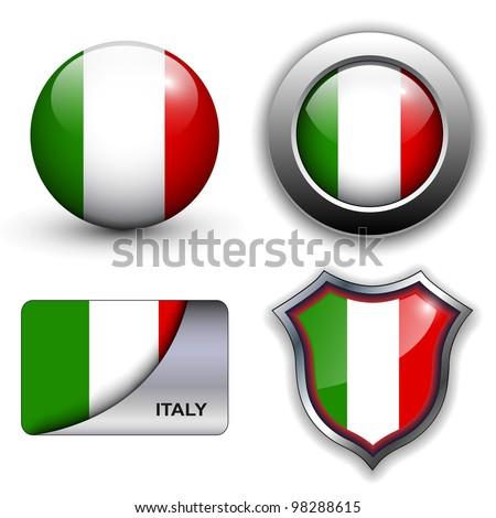 Italy flag icons theme. - stock vector