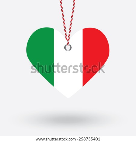 Italy flag in the shape of a heart with hang tags - stock vector