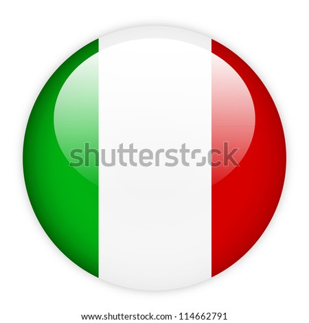 Italy flag on button isolated on white - stock vector