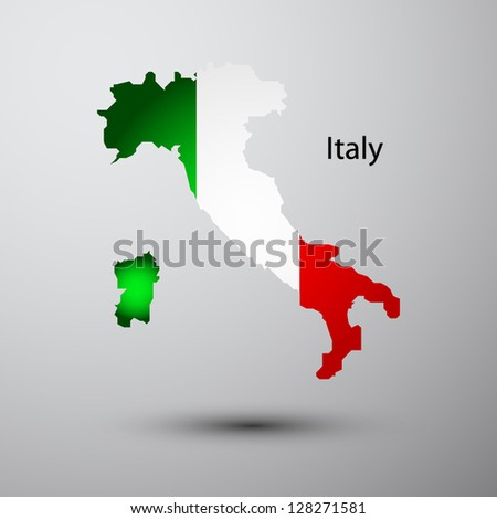 Italy flag on map of country - stock vector