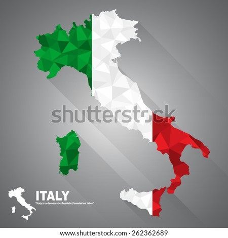 Italy flag overlay on Italy map with polygonal and long tail shadow style (EPS10 art vector) - stock vector