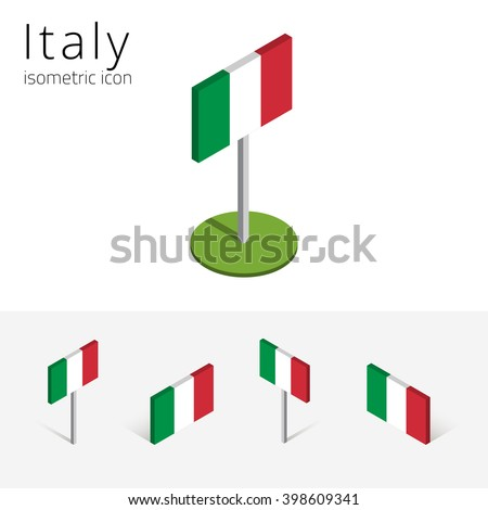 Italy flag, vector set of isometric flat icons, 3D style, different views. Editable design elements for banner, website, presentation, infographic, poster, card, collage. Eps 10 - stock vector