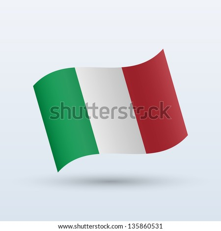 Italy flag waving form on gray background. Vector illustration. - stock vector