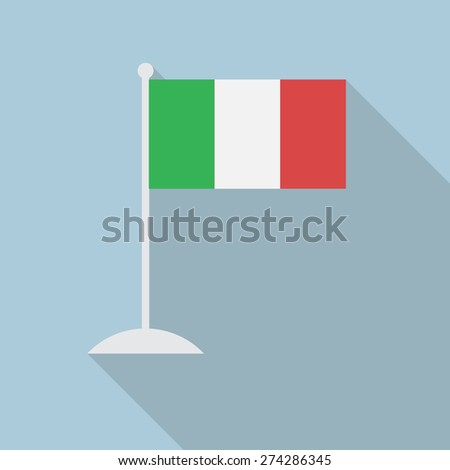 Italy flag with flagpole flat icon with long shadow. Vector illustration EPS10 - stock vector