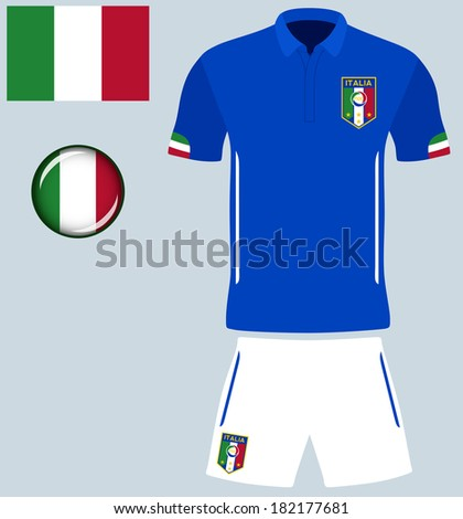 Italy Football Jersey. Abstract vector image of the Italian football kit, along with flag and icon. - stock vector