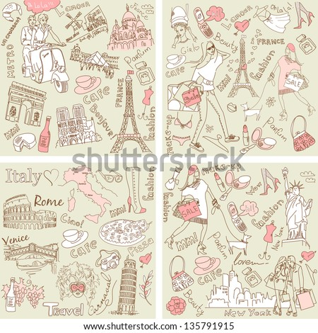 Italy, France, USA - four wonderful collections of hand drawn doodles - stock vector