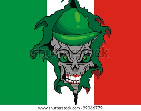 Italy grunge flag and skull