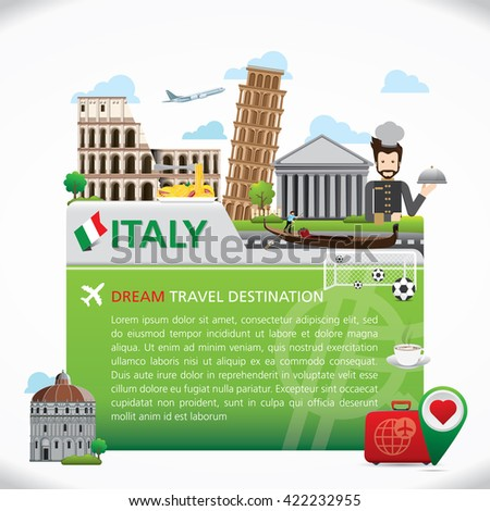 Italy Icons Design Travel Destination Concept, Travel design templates collection, Info graphic elements for traveling to Italy. Snowball Vector - stock vector