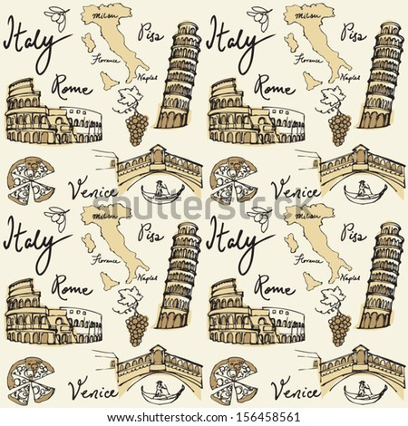 Italy icons & landmarks seamless background - stock vector