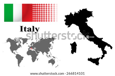 Italy info graphic with flag , location in world map, Map and the capital ,Rome, location.(EPS10 Separate part by part) - stock vector
