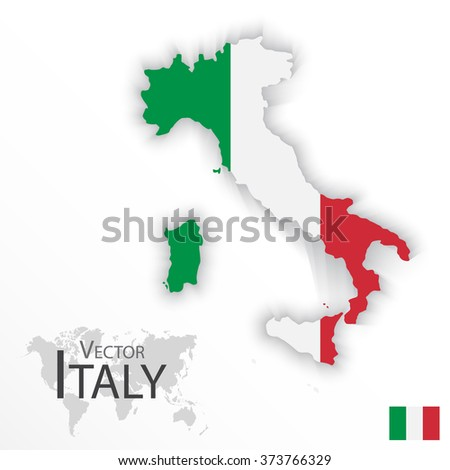 Italy ( Italian Republic ) ( flag and map ) ( transportation and tourism concept )