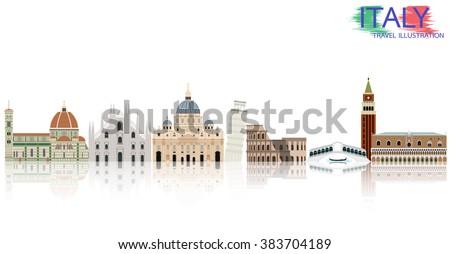 Italy landmark skyline vector illustration - stock vector