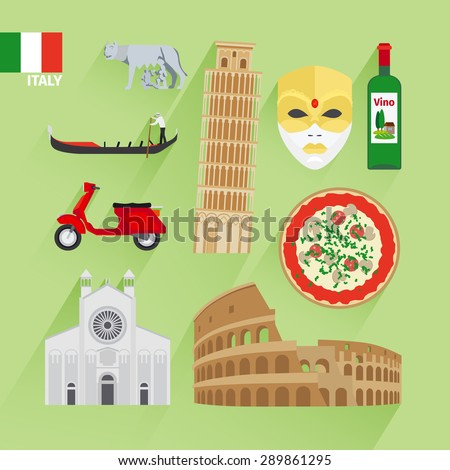 Italy landmarks flat icons. Leaning tower and Venetian mask, Coliseum and pizza - stock vector