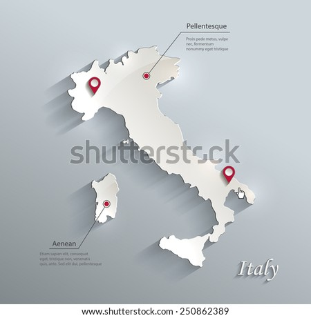 Italy map blue white card paper 3D vector - stock vector