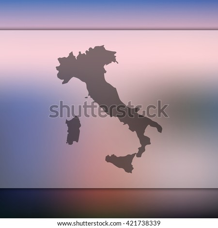 Italy map on blurred background. Blurred background with silhouette of Italy. Italy. Italy map. Blurred background. Silhouette of Italy. Italy vector map. Italy flag. Blur background. Vector. - stock vector