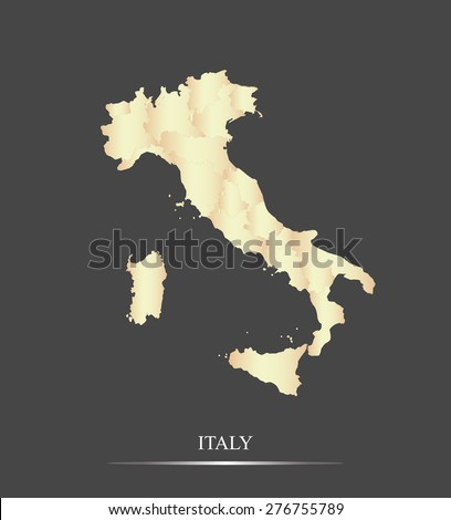Italy map outlines in an abstract black and white design, vector map of Italy in a grey background - stock vector