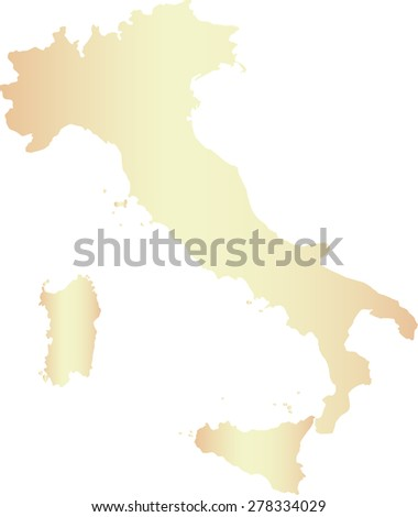 Italy map outlines, vector map of Italy in contrasted light color - stock vector