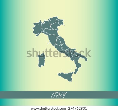 Italy map outlines with boundaries/ polygons of districts or provinces or states on an abstract background - stock vector