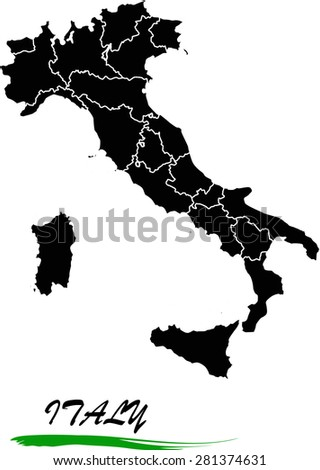 Italy map vector in black and white background, Italy map outlines in a new design - stock vector