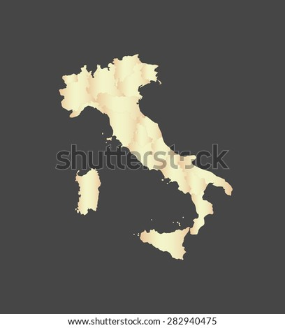 Italy map vector, Italy map outlines in a new contrasted design with a gradient of light color and a grey background - stock vector