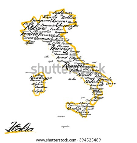 Italy map with city names  - stock vector