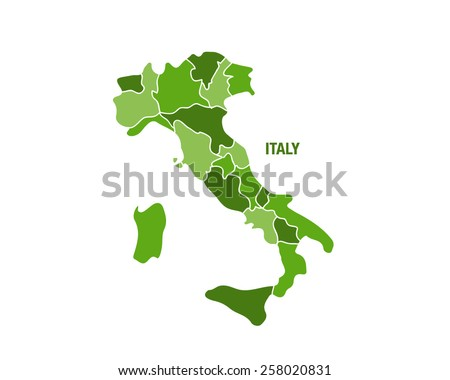 Italy map with regions - stock vector