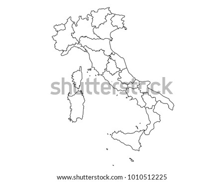 italy outline map. detailed isolated vector country border contour map on white background.