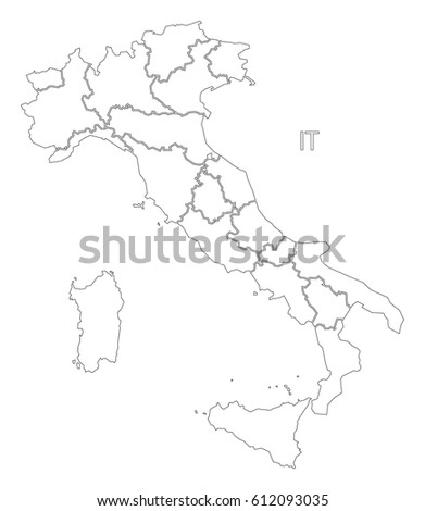 Italy outline silhouette map illustration with regions