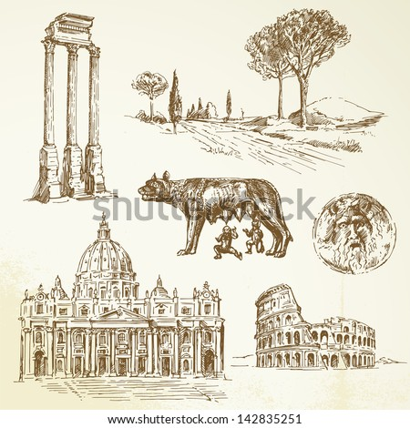 Italy, Rome - drawing - stock vector