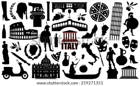 italy silhouettes on the white background - stock vector
