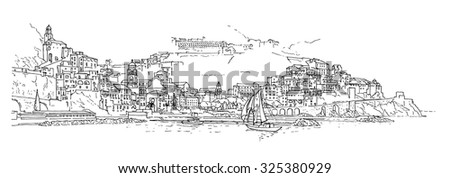 Italy. The Italian city is drawn by hand. - stock vector