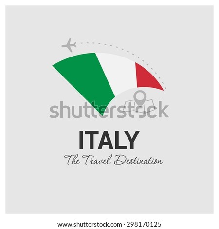 Italy The Travel Destination logo - Vector travel company logo design - Country Flag Travel and Tourism concept t shirt graphics - vector illustration - stock vector