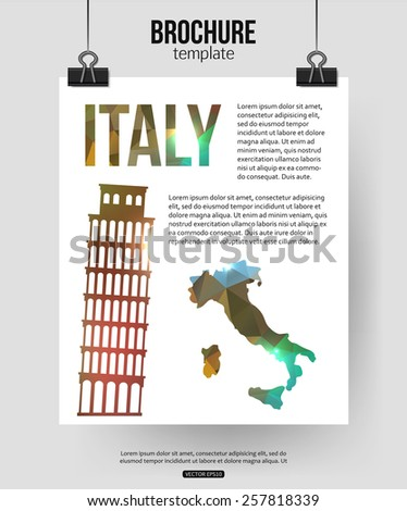 Italy travel background. Brochure with Italy  map, Pisa label or logo and place for text. Italy symbols for your design. Geometric design. Vector illustration. - stock vector