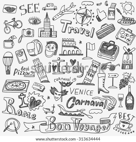 Italy Travel Doodles Icons Stock Vector 313634444