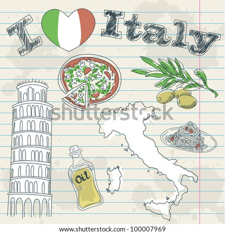 Italy travel grunge card with national italian food, sights, map and flag - stock vector